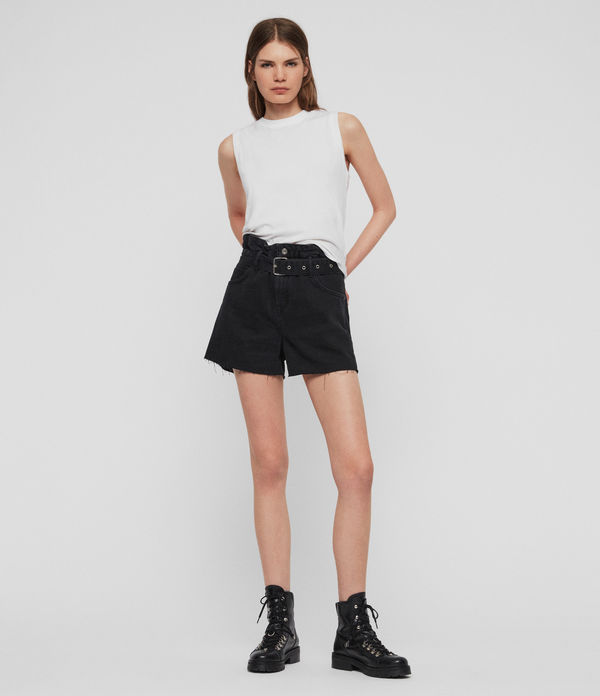 Hannah Paperbag High-Rise Denim Shorts
