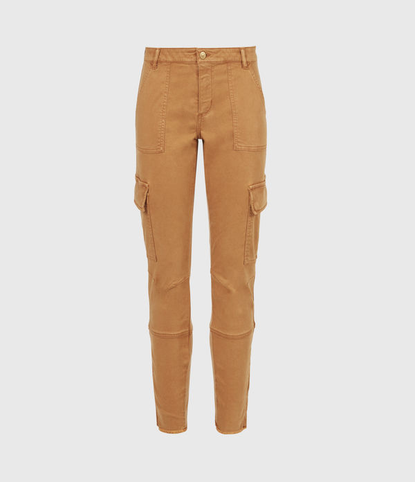 Duran Mid-Rise Skinny Cargo Jeans, Caramel