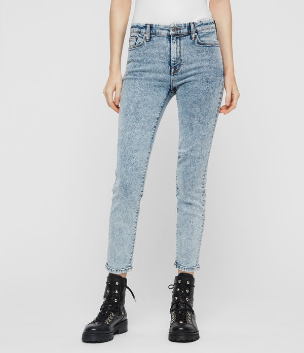 Grace Cropped Skinny Mid-Rise Jeans, Acid Washed Indigo