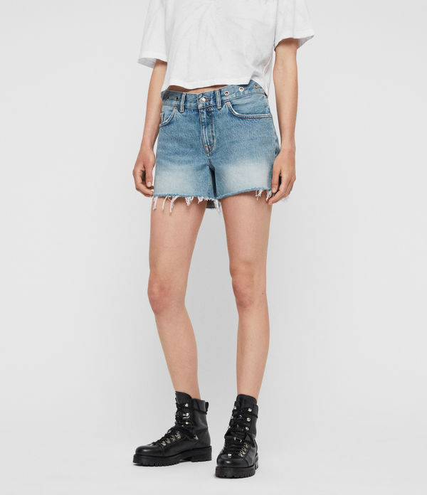 Everly Eyelet Low-Rise Denim Shorts