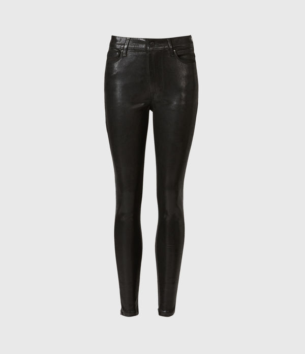 Alex High-Rise Coated Superstretch Skinny Jeans, Black