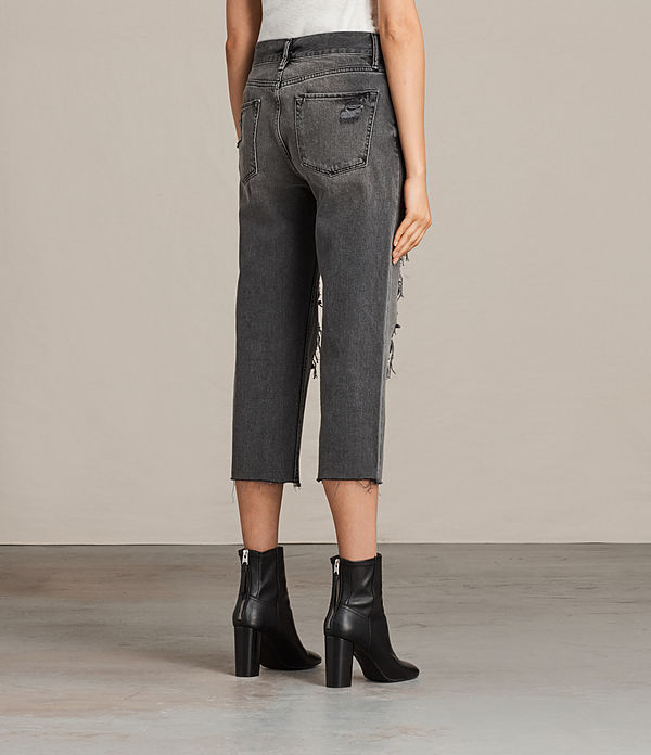 Ivy Destroys Low-Rise Boyfriend Jeans, Grey