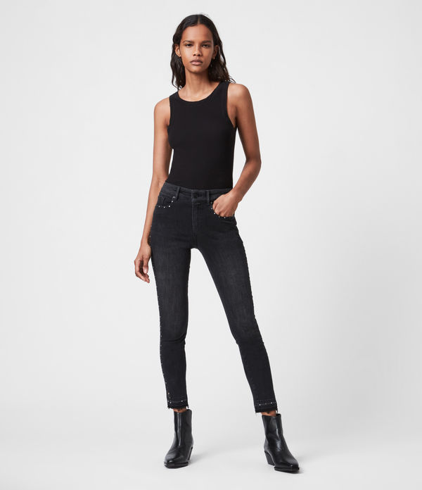 Miller Mid-Rise Studded Stretch Skinny Jeans, Black