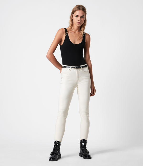 Miller Mid-Rise Coated Skinny Jeans, White