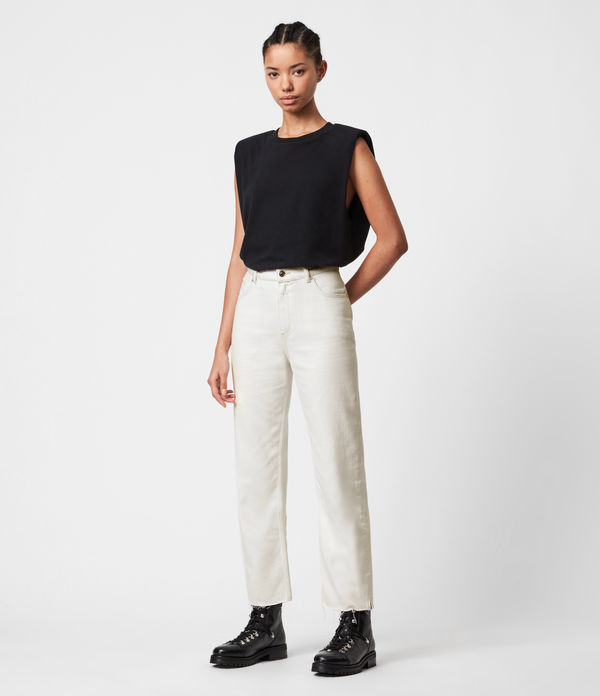Cali High-Rise Straight Jeans, Natural White