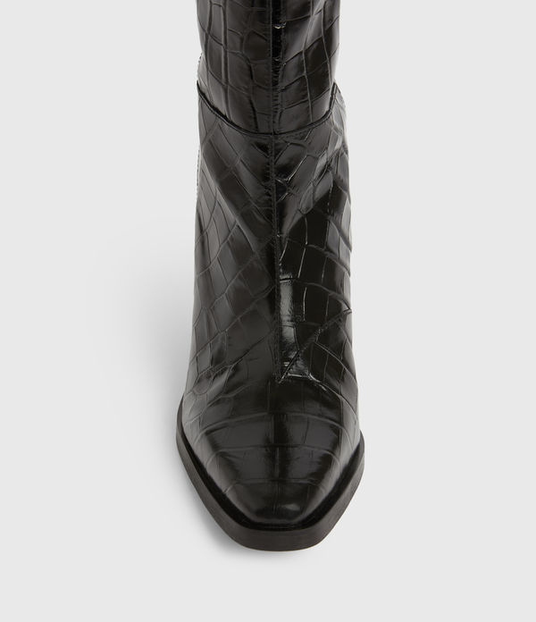 Cohen Crocodile Knee High Leather Boots