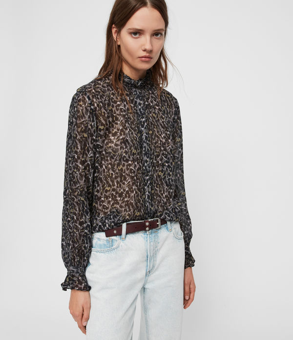 Camicia Louise Waterleo - Leopardata semi-trasparente