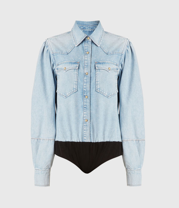 Veela Denim Shirt Bodysuit