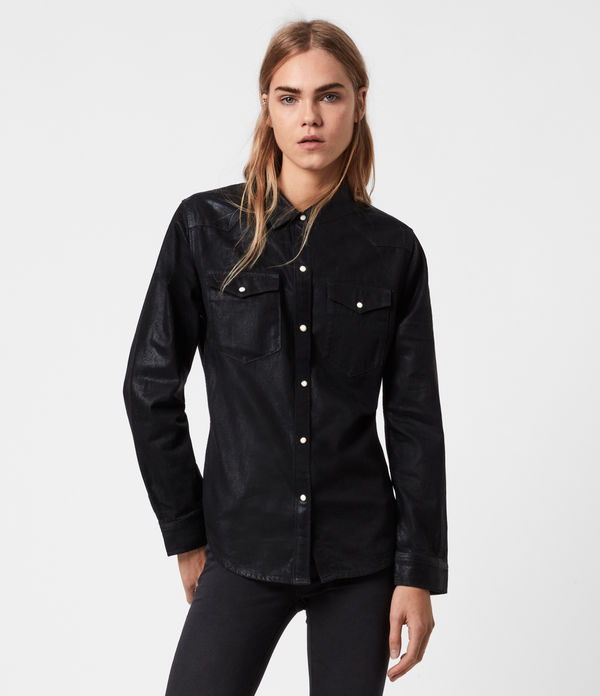 hazel coated denim shirt
