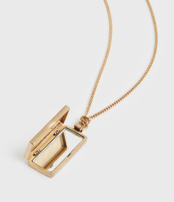 Locket Box Gold-Tone Pendant Necklace
