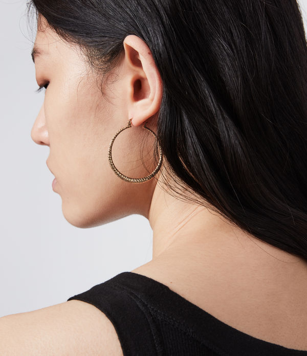 horn gold-tone hoop earrings