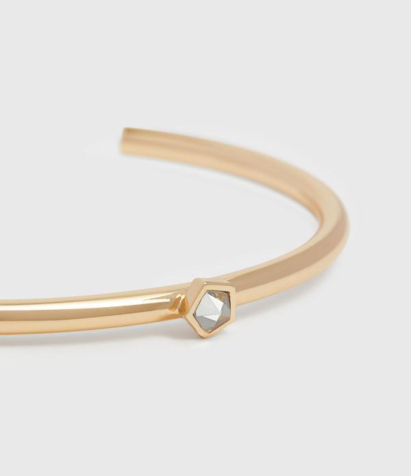 Clarity Gold Tone Semi-Precious Crystal Quartz Cuff Bracelet
