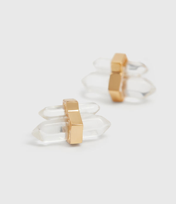 faye gold tone semi-precious crystal quartz earrings