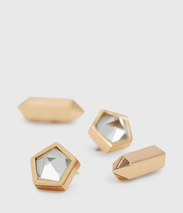 Erin Gold Tone Semi-Precious Crystal Quartz Stud Set