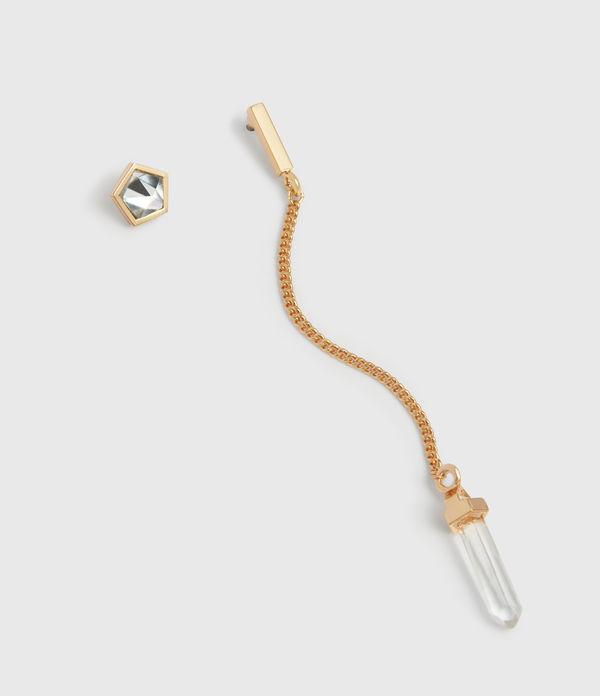 Faith Gold Tone Semi-Precious Crystal Quartz Mismatch Earrings