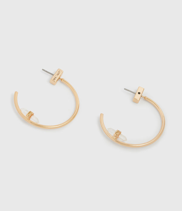 Serena Gold Tone Semi-Precious Crystal Quartz Hoop Earrings