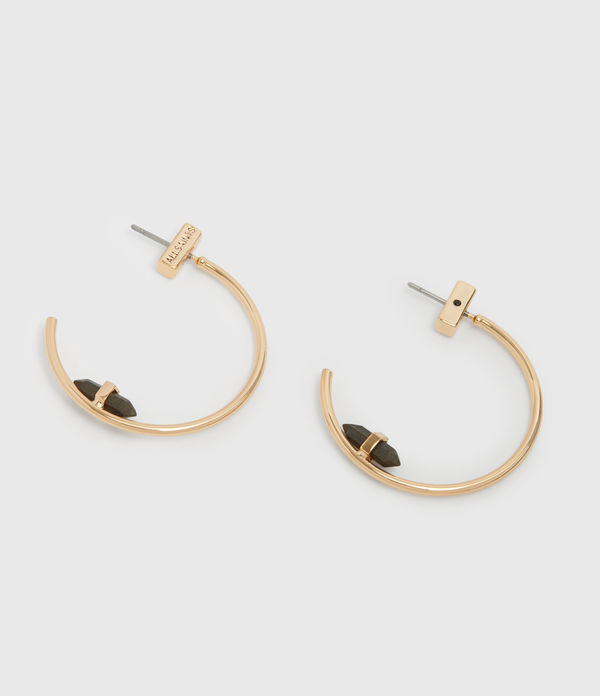 Serena Gold Tone Semi-Precious Pyrite Hoop Earrings