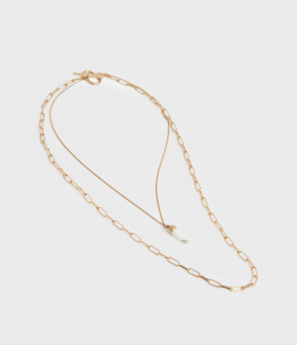 Kim Gold-Tone Double Layer Pendant Necklace