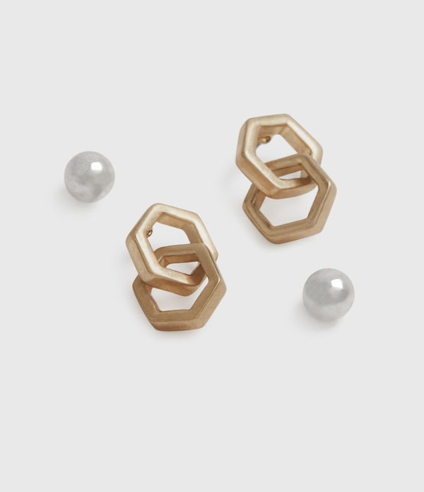 Hexmix Gold-Tone Earring Set