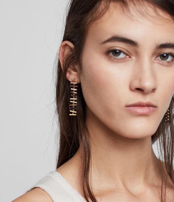 Fern Gold Tone Semi-Precious Crystal Quartz Drop Earrings