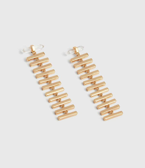 Fern Gold Tone Semi-Precious Crystal Quartz Drop Earrings