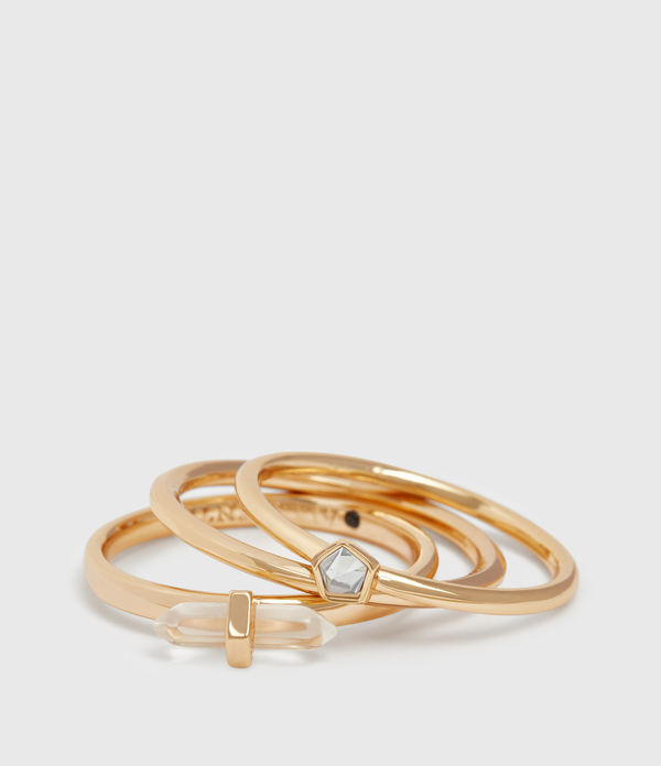 Quin Gold Tone Semi-Precious Three Ring Set