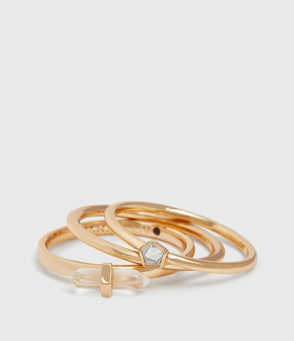 Quin Gold Tone Semi-Precious Crystal Quartz Three Ring Set