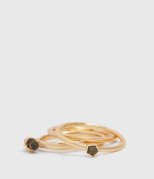 Quin Gold Tone Semi-Precious Pyrite Three Ring Set