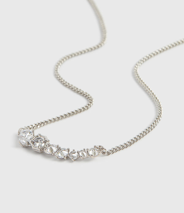 Lucia Silver Tone Glass Cubic Zirconia Necklace