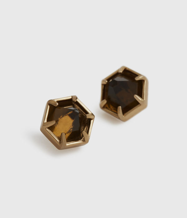 kailey gold-tone smokey quartz stud earrings