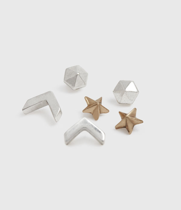 Cosmic Gold-Tone Stud Earring Set