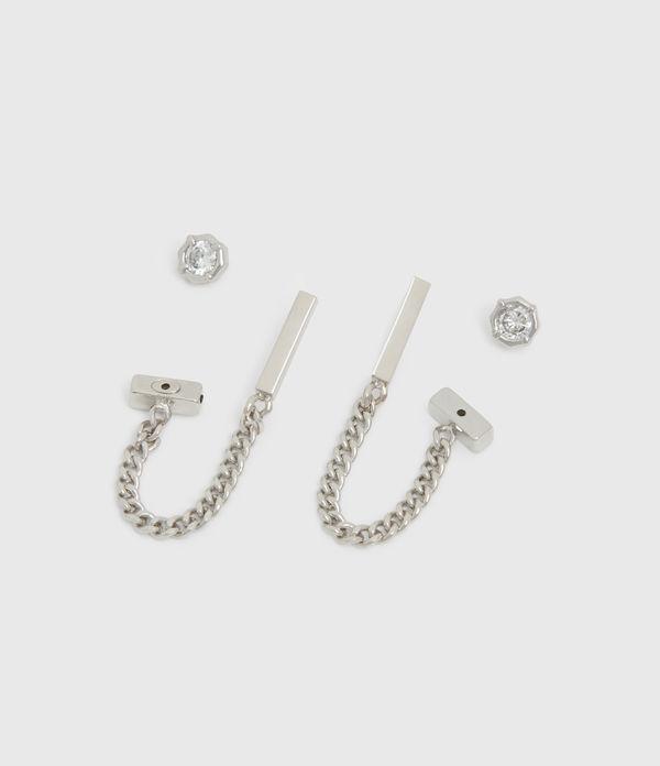 Suri Silver Tone Cubic Zirconia Earring Set