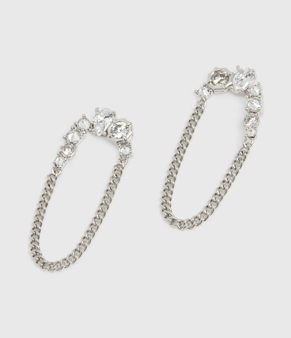 Adah Silver Tone Cubic Zirconia Earrings