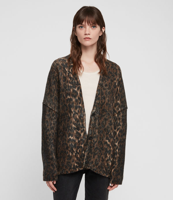 Leopard Strickjacke