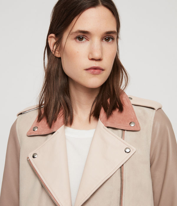 Balfern Leather Mix Biker Jacket