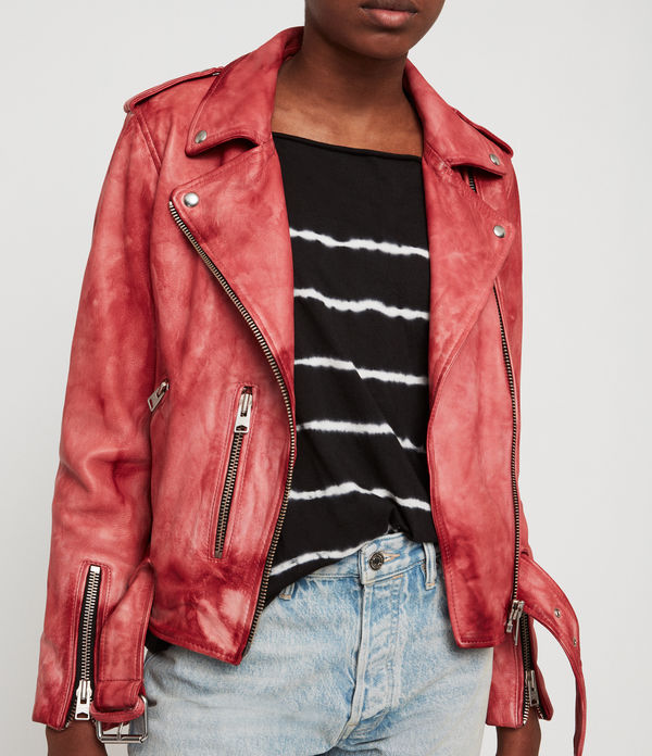 Balfern Tye Dye Leather Biker Jacket