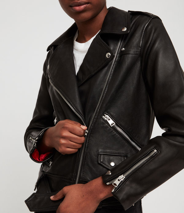 Estae Hearts Leather Biker Jacket