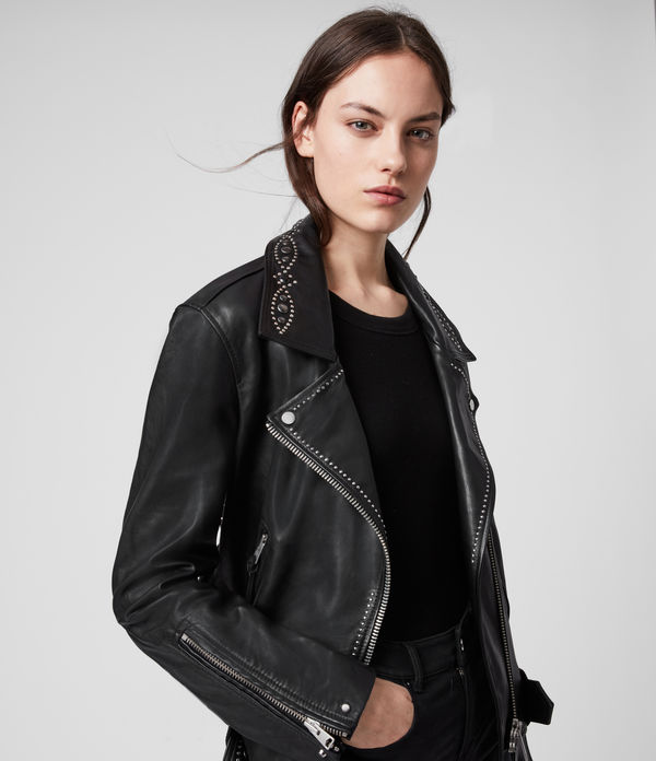 Luna Studded Leather Biker Jacket
