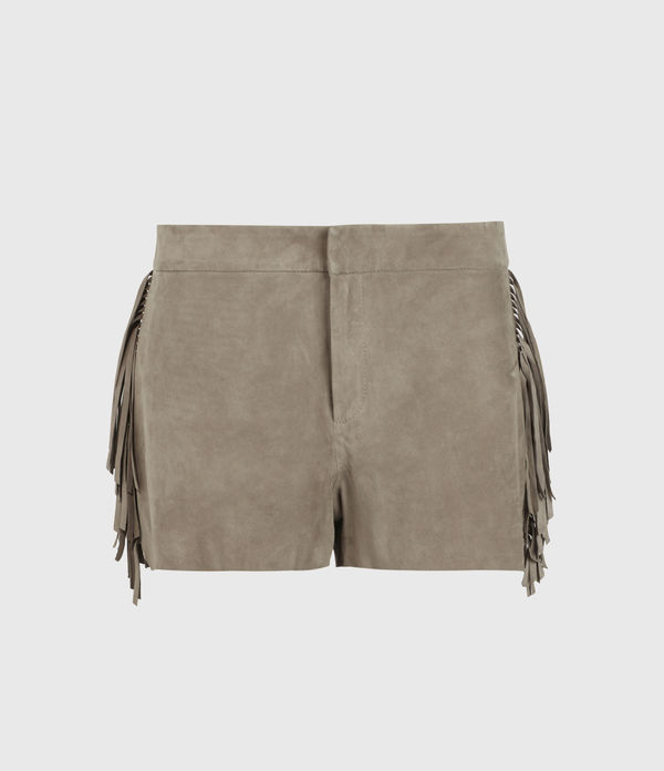 Calix Tassel Suede Low-Rise Shorts