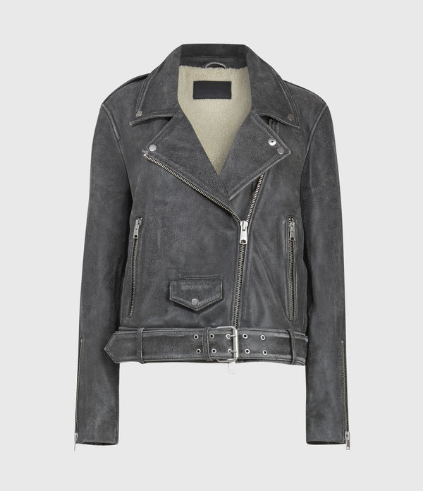 Arashi Sherpa-Lined Leather Biker Jacket