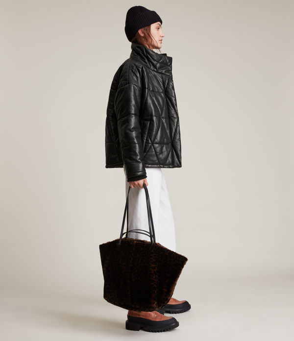 Bon Leather Puffer Coat