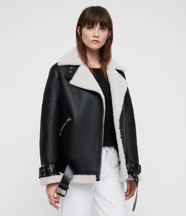Hawley Oversized Shearling Biker Jacket