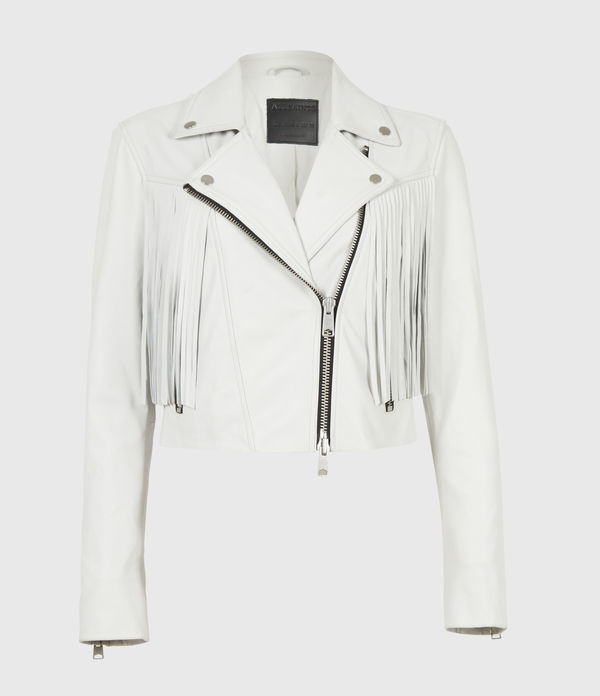 Elora Tassel Leather Biker Jacket