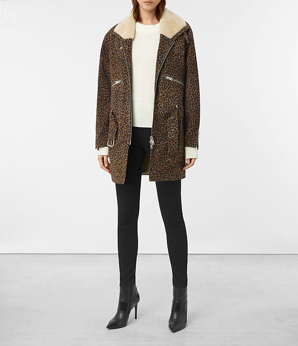 Leopard Collins Suede Coat