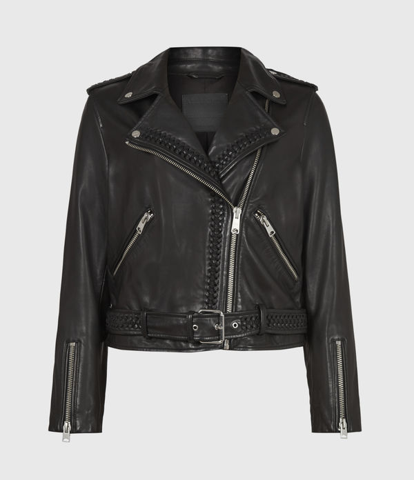 Braided Leather Biker Jacket