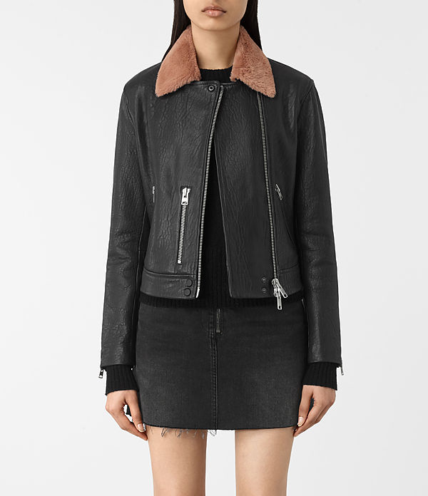 shorland leather biker jacket
