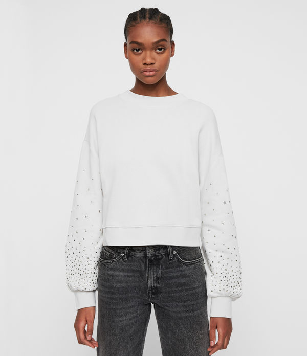 star stud cropped sweatshirt