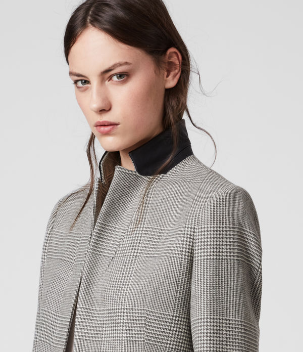 Cappotto Leni Check - Monopetto con retro collo in pelle