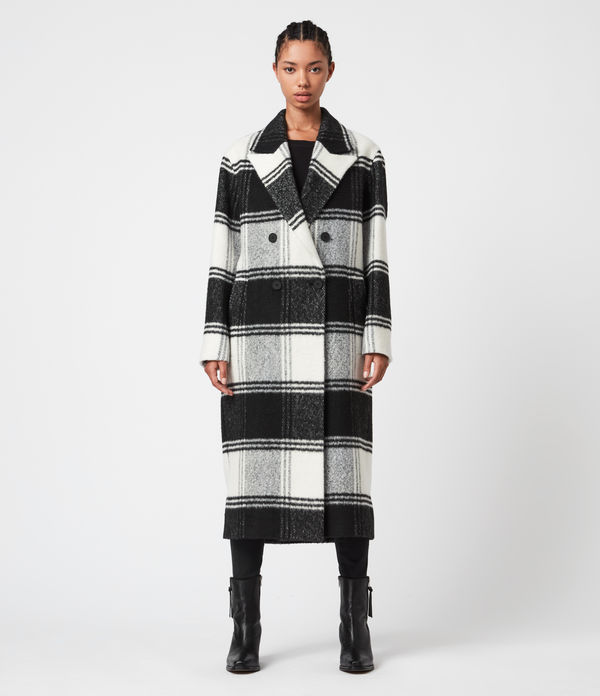lottie wool blend check coat