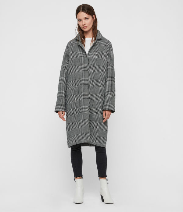 Manteau Long À Carreaux Teya